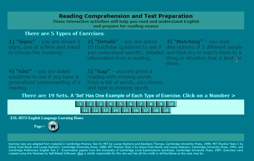 Nguồn luyện đọc: http://esl-bits.net/main2.htm