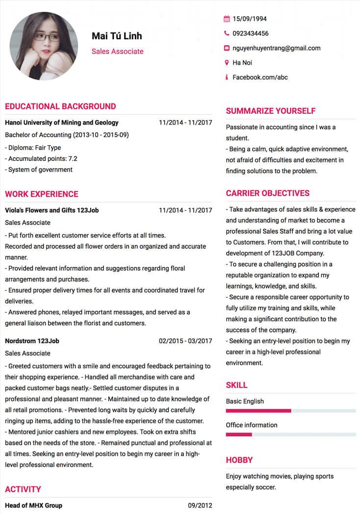 CV xin việc bằng tiếng Anh cần đầy đủ thông tin