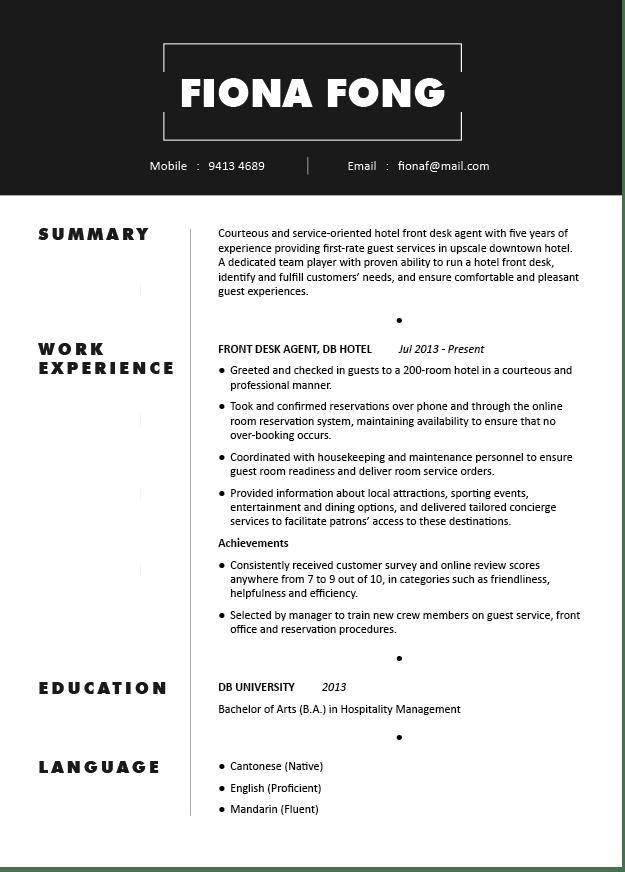 Mẫu CV nhân viên khách sạn bằng tiếng Anh