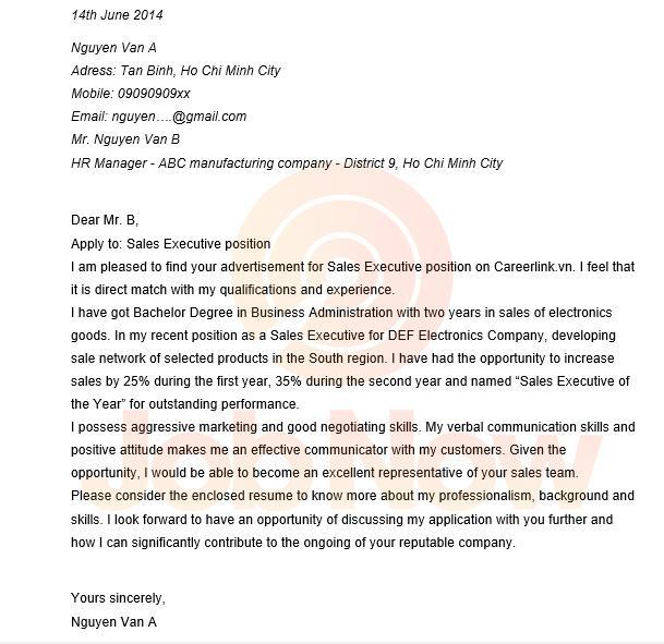 Mẫu thư xin việc tiếng Anh cho vị trí điều hành kinh doanh